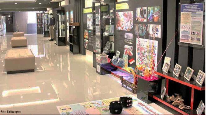 Salah satu Area Pelayanan Galeri Riset Kesehatan yang menampilkan beragam dokumentasi dan karya riset serta inovasi bidang kesehatan
