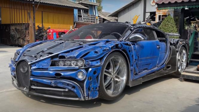 Replika Bugatti Chiron dari besi rongsokan