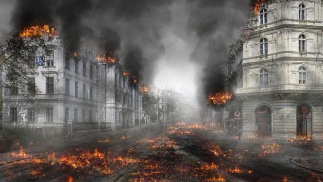 Ilustrasi kehancuran dunia.