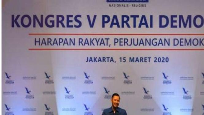 Ketua Umum Partai Demokrat Agus Harimurti Yudhoyono (AHY) menyampaikan pidato saat Kongres V Partai Demokrat di Jakarta (VIVA)