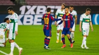 Selebrasi Lionel Messi saat Barcelona melawan Elche