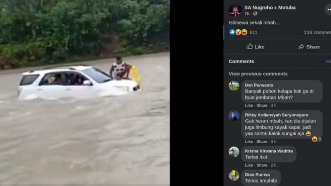 Mobil buatan Indonesia dipakai menyeberangi sungai deras