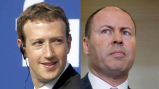 Siapa yang lebih dulu goyah? Pendiri Facebook Mark Zuckeberg dan Menteri Keuangan Australia Josh Frydenberg.