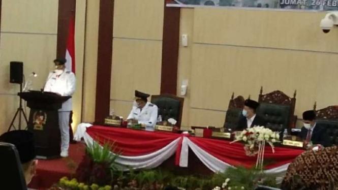 Pidato Wali Kota Medan Bobby Nasution di gedung DPRD Kota Medan