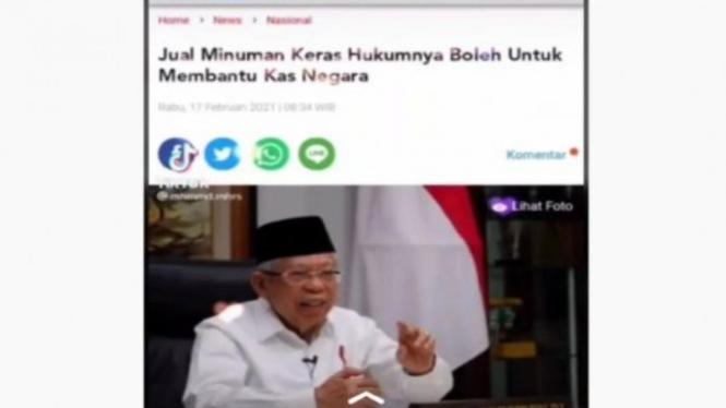 Tangkapan layar berita hoax Wapres Maruf Amin bolehkan miras demi kas negara