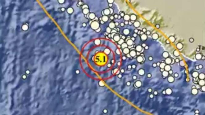 Gempa Bumi 5,1 SR di Laut Bengkulu.