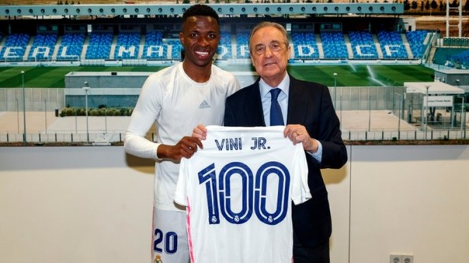 Vinicius Junior menandai pertandingan ke-100 bersama Real Madrid