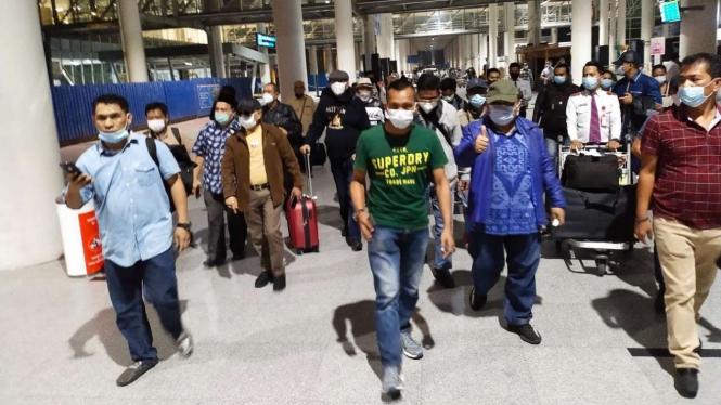 Jhoni Marbun tiba di Bandara Kualanamu, Sumut.