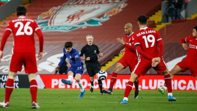 Pertandingan Liverpool vs Chelsea dalam lanjutan Premier League 2020/21.