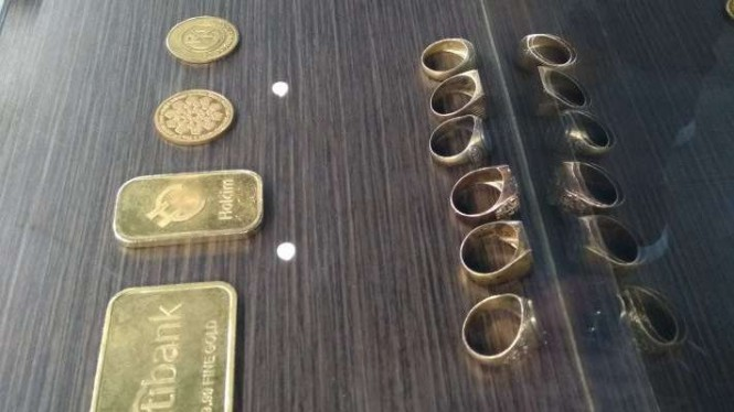 Ilustrasi emas yang diperdagangkan PT Aneka Tambang (Persero) Tbk di Makassar, Sulawesi Selatan.