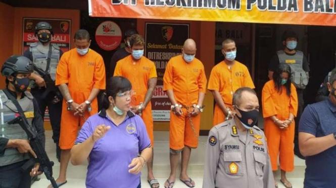 Konferensi pers penangkapan pelaku aksi premanisme di wilayah Bali