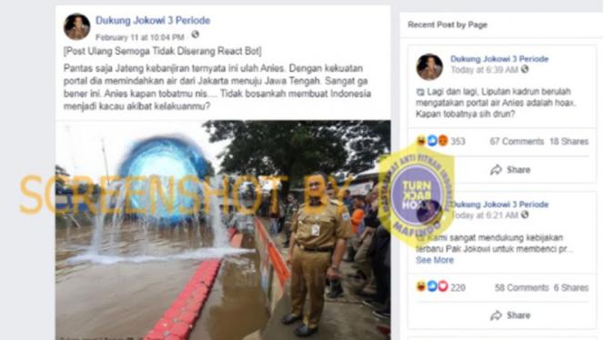 Unggahan akun Facebook Banjir di Jateng ulah Anies Baswedan.