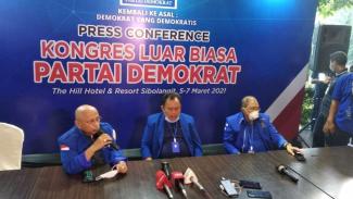 Konferensi pers KLB Demokrat di Sibolangit, Sumut.