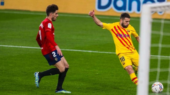 Gol Jordi Alba di laga Osasuna Vs Barcelona