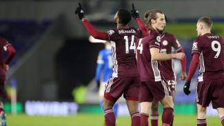 Iheanacho merayakan gol di laga Brigthon vs Leicester City