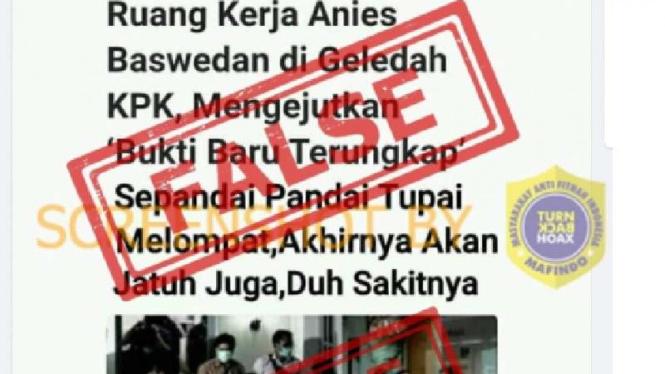 Foto hoax ruang kerja Anies digeledah KPK