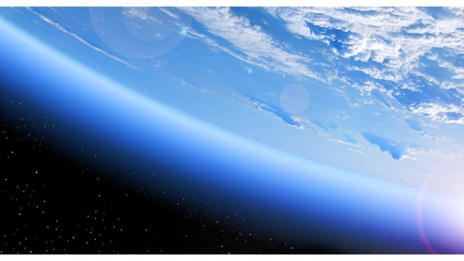 Lapisan ozon yang melindungi Bumi.
