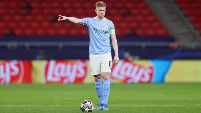 Kevin De Bruyne dalam laga Manchester City vs Borussia Moenchengladbach