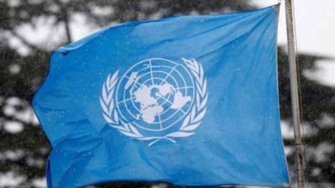 Ilustrasi - Bendera lambang Perserikatan Bangsa Bangsa.