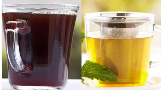 Kopi hitam dan teh hijau