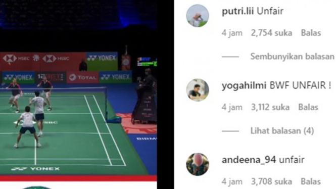 Akun Instagram BWF diserang netizen Indonesia.
