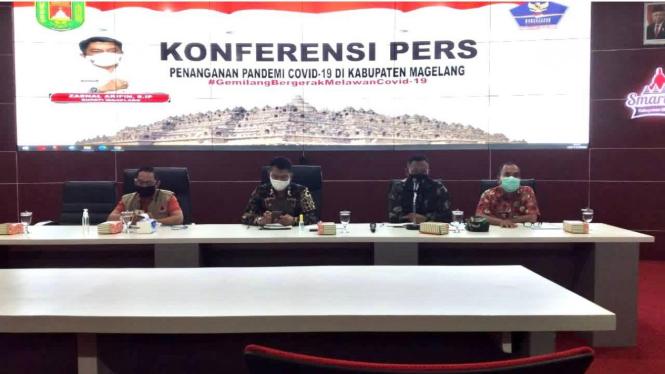 Konferensi Pers Penanganan Covid-19 di Kabupaten Magelang diselenggarakan rutin setiap dua minggu sekali.