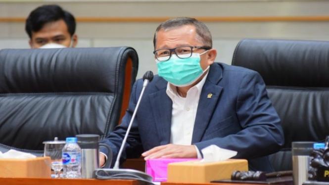 Anggota Komisi III DPR RI Arsul Sani saat rapat dengar pendapat di DPR