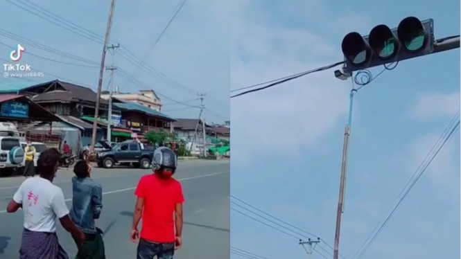 Warga merusak kamera ETLE di Myanmar