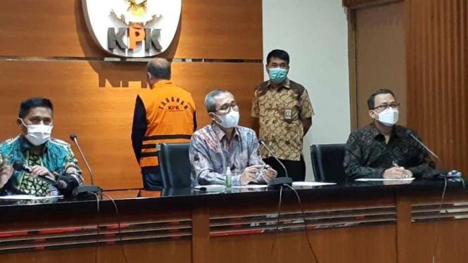 KPK gelar konferensi pers terkait penahanan mantan Dirut Pelindo II RJ Lino.