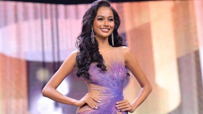 Wakil Indonesia, Aurra Kharishma di ajang Miss Grand International 2021.