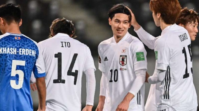 Timnas Jepang saat menghadapi Mongolia.