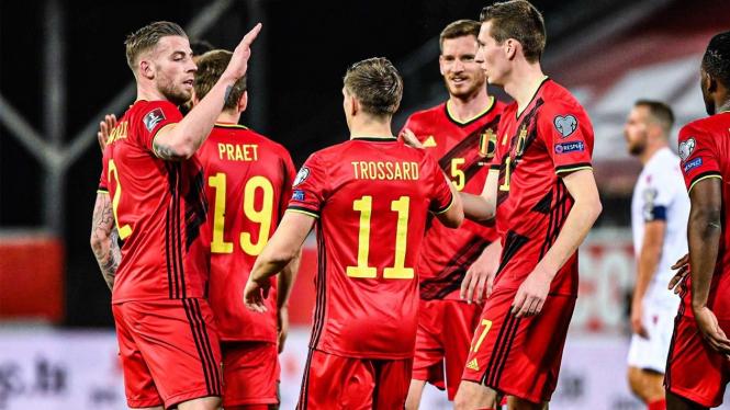 Pemain Timnas Belgia merayakan gol