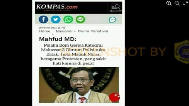 Berita hoax soal Mahfud MD