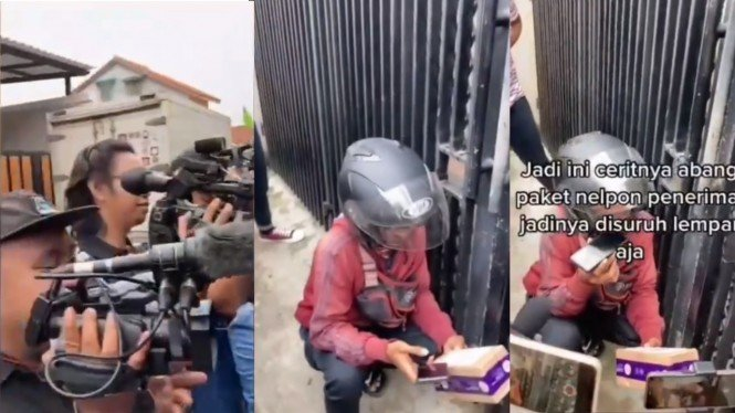 Kurir di rumah Nissa Sabyan dikerubungi wartawan.