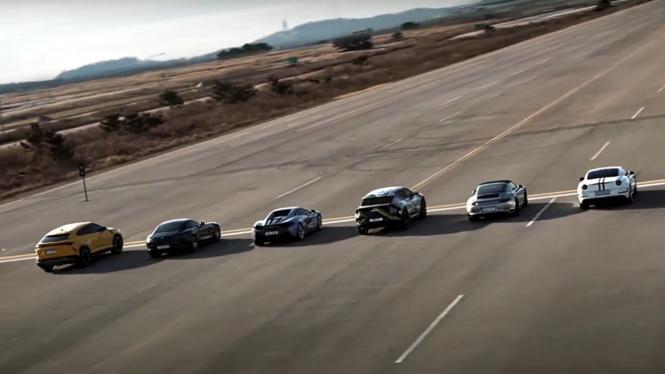 Mobil Kia EV6 adu kencang dengan sport car