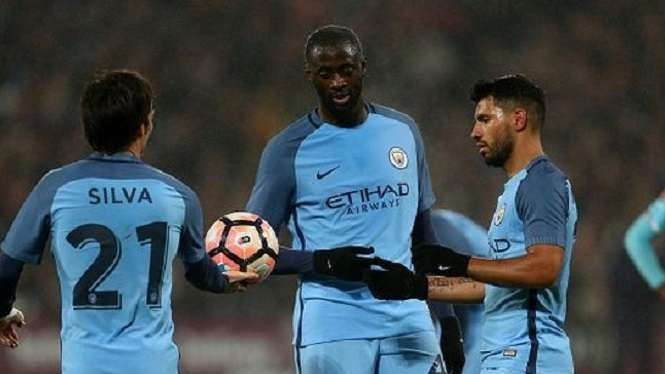 David Silva, Yaya Toure dan Sergio Aguero di Manchester City