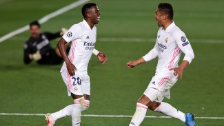 WInger Real Madrid, Vinicius Junior bobol gawang Liverpool.