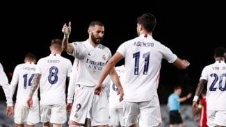 Pemain Real Madrid, Marco Asensio merayakan gol ke gawang Liverpool