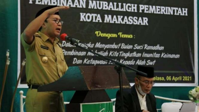 Wali Kota Makassar Moh. Ramdhan Pomanto berbicara dalam forum pembinaan mubalig, Rabu, 7 April 2021.