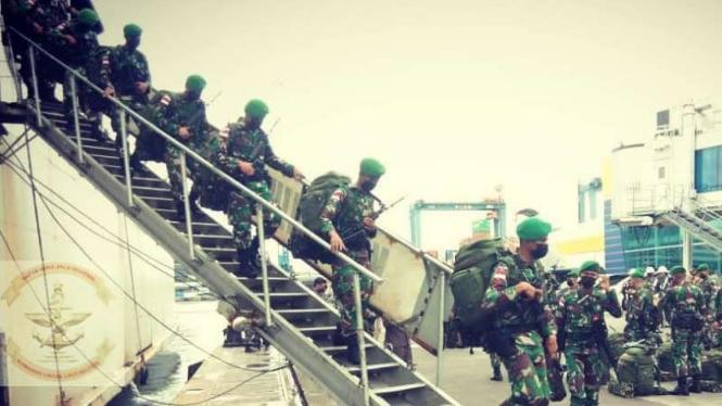 VIVA Militer: Satgas Pamtas RI-PNG Yonif 312/Kala Hitam tiba di Jakarta