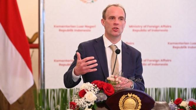 Menteri Luar Negeri Inggris Dominic Raab berkunjung ke Jakarta, Rabu (7/4/2021).