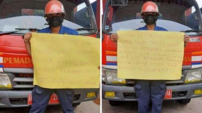Petugas damkar Kota Depok viral di media sosial.