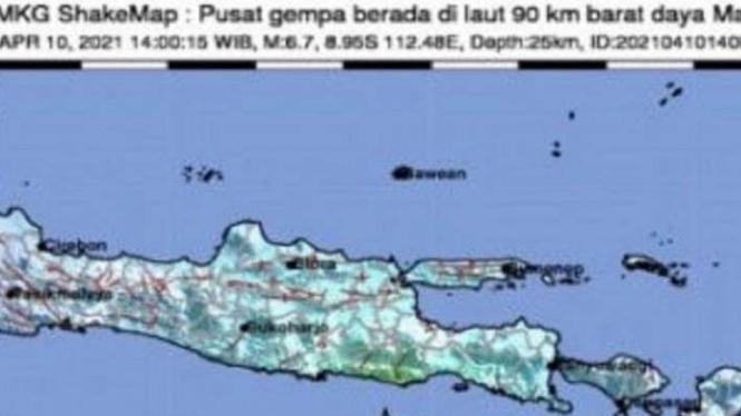 Capture lokasi kejadian gempa dari rilis BMKG, Sabtu, 10 April 2021.