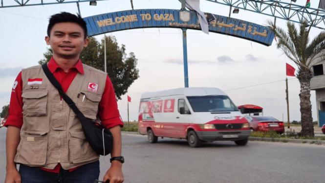 Jurnalis tvOne Imran Tajuddin saat di Gaza (Foto/Dok/Pribadi)