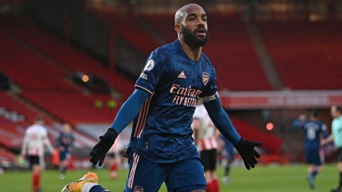 Striker Arsenal, Alexandre Lacazette usai jebol gawang Sheffield United