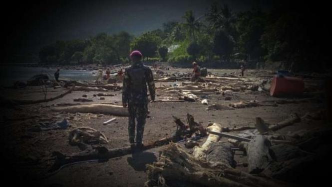 VIVA Militer: Prajurit Marinir TNI di lokasi longsor Lembata.