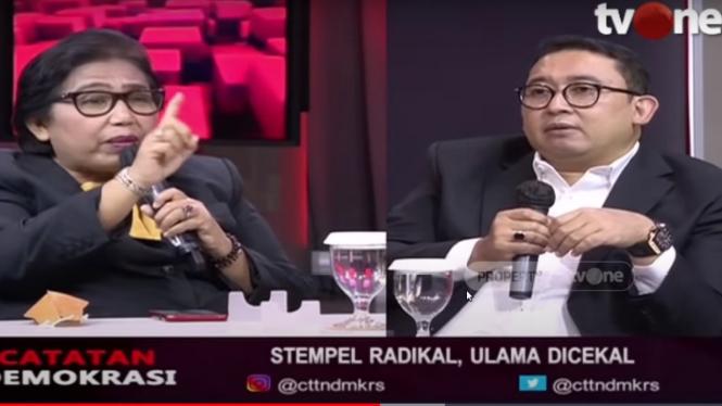 Debat panas Irma Suryani dengan Fadli Zon di Catatan Demokrasi tvOne
