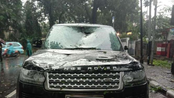 Mobil Range Rover remuk ditimpa pohon tumbang