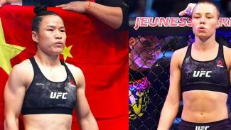 Rose Namajunas (kanan) dan Zhang Weili