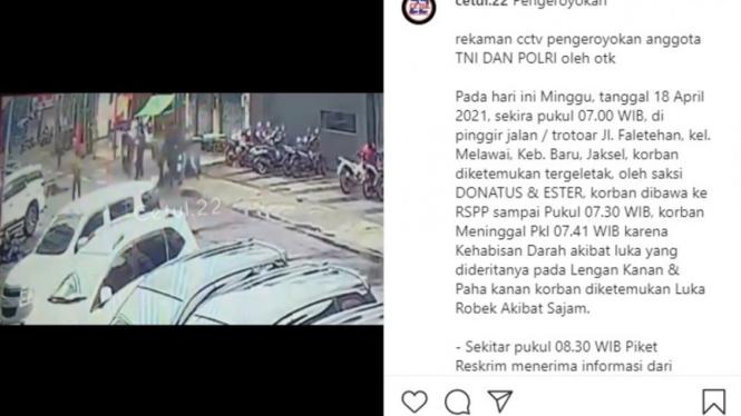 Rekaman CCTV anggota TNI dan Polri dikeroyok OTK di Kebayoran Baru.